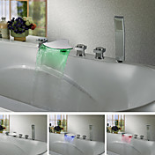 Contemporary Color Changing LED Waterfall Tub Faucet Chrome Finish