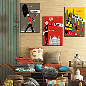 Stretched Canvas Print Cartoon People and Cities Set of 3 1301-0225