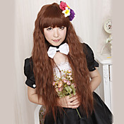 Lolita Wave Wig Inspired by Fluffy Brown 100cm Full Fringe Princess