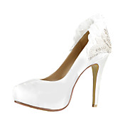 Salto stiletto elegante cetim Fechado Toe Bombas partido / Evening Shoes