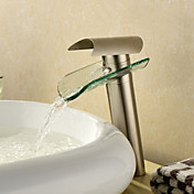 Contemporary Waterfall Bathroom Sink Faucet - Nickel Brushed Finish (Tall)