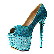 Elegante couro Stiletto Heel Peep Toe Pumps com rebite partido / Evening Shoes
