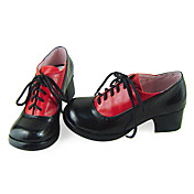 Handmade Black and Red PU Leather 4.5cm High Heel Noble Academy School Lolita Shoes