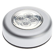 4-LED White Light Round Touch Lamp with Sticker for Home Car Office (3xAAA)