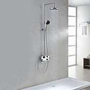 Digital LCD Screen Thermostatic Chrome Finish Contemporary Style Shower Faucets with 8&quot; Showhead + Handheld
