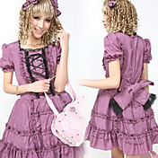 Korte Mouw Korte Purple Polka Dots Cotton Sweet casaul Lolita Dress