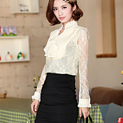 Women's Beaded Collar Shirt with Ruffles