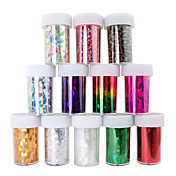 12PCS Laser Foil Nail Decorations Starry Nail Stickers No.1-12(150x6x0.1cm)