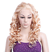 "With Stretch On The Crown French Curly 22"" 100% Indian Remy Full Swiss Lace Wig"