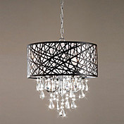 60W Modern Pendant Light with 4 Lights and Black Metal Drum Shade