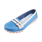 Stylish Leather Flat Heel Loafers &amp; Slip-ons With Buckle Honeymoon Shoes (More Colors)