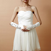 Elastic Satin Fingerless Elbow Length Wedding Gloves With Rhinestone & Sequins