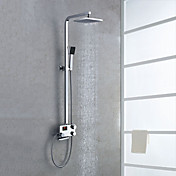 Digital LCD Screen Thermostatic Contemporary Style Chrome Finish Shower Faucets with 8&quot; Showhead + Handheld