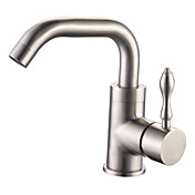 Stainless Steel Contemporary Style Brushed Finish Centerset Bathroom Sink Faucets