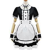Short Sleeve Short Black and White Cotton Cosplay Lolita Dress