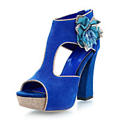 Suede Chunky Heel Sandals With Flower Party / Evening Shoes (More Colors)
