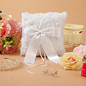Classic Themed White Lace Satin With Rhinestones Ring Pillow