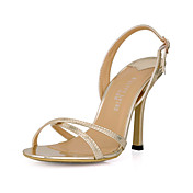 Lindos couro Stiletto Sandlias salto com fivela partido / Evening Shoes (mais cores)