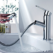 Contemporary Chrome Finish Pull-out Brass Kitchen Faucet