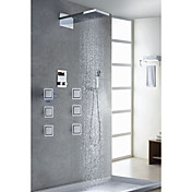 Contemporary Chrome Finish Thermostatic LCD Shower Faucet (Showerhead + Handshower)