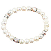 Elegant White Fresh Water Pearl And Crystal Elastic Bracele