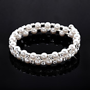 damer 'Rhinestone Strand / tennis armbnd i hvid perle