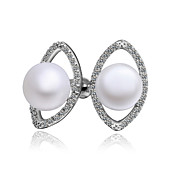 Charming Platinum Plated Pearl Earrings with Cubic Zirconia