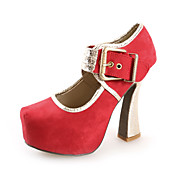Chic Suede Chunky Heel Pumps With Sparkling Glitter And Buckle Party / Evening Shoes (More Colors)