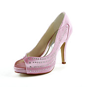 Pretty Satin Stiletto Heel Peep Toe With Rhinestone Wedding Shoes (More Colors)