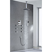 Contemporary Chrome Finish Thermostatic LCD 8 inch Square Showerhead + Handshower