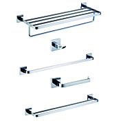 Chrome Finish Brass Bathroom Accessory Sets (Include Robe Hooks,Toilet Roll Holders,3 Towel Bars)