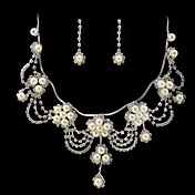 hermosa rhinestone / perla de imitacin joyera nupcial conjunto - 17 pulgadas collar con aretes