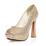Leatherette Chunky Heel Peep Toe Party / Evening Shoes (More Colors)