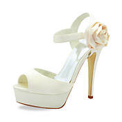 Gorgeous Satin Stiletto Heel Sandals With Flower Wedding Shoes (More Colors)