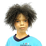 Capless Top Grade Quality Synthetic Short Curly Black Fluffy Children's Wigs
