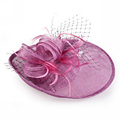 Amazing Flax With Feather Special Occasion Hats(More Colors)