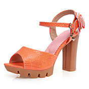 Leatherette Chunky Heel Peep Toe With Buckle Party / Evening Shoes (More Colors)