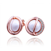 Charming Rose Gold Plated Perlen Round Ohrringe