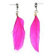 Punk Style Crossbones Pink Feather Earrings