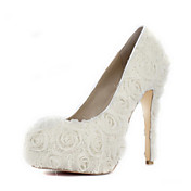 Satin Stiletto Heel Pumps med sateng Flower Wedding Shoes (Flere farger)