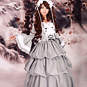 Flare Sleeve Floor-length Gray Satin Classic Lolita Dress