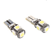 T10 1W 9x5050SMD White Light LED Bulb for Car Instrument/Side Marker Lamp CANBUS (12V, 1-Pair)