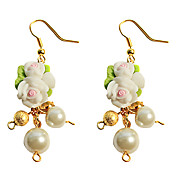 Fleur faite main et Pearl Country Lolita Boucles d'oreilles