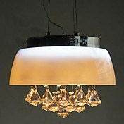 60W Contemporary Pendant Light with Bowl Shade and Crystal Decor in Countryside Style