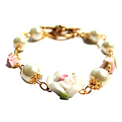 Handmade fleur blanche et d'alliage de perle douce Bracelet Lolita