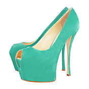 Fashion Suede Stiletto Heel Peep Toe Green Party / Evening Shoes
