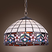 60W Tiffany Pendent Light with 1 Light in Floral Designed Fringe