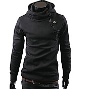 Man's Inclined Zipper Hoodie with Cap(Assorted Colors)