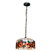 80W Stylish Tiffany Pendant Light com Colorful Nature Shell Material Sombra Integrado em padro floral