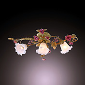 120W Nature Inspired Flush Mount With 3 Lights and Floral Petal Shades in Metal Branch E14/E12